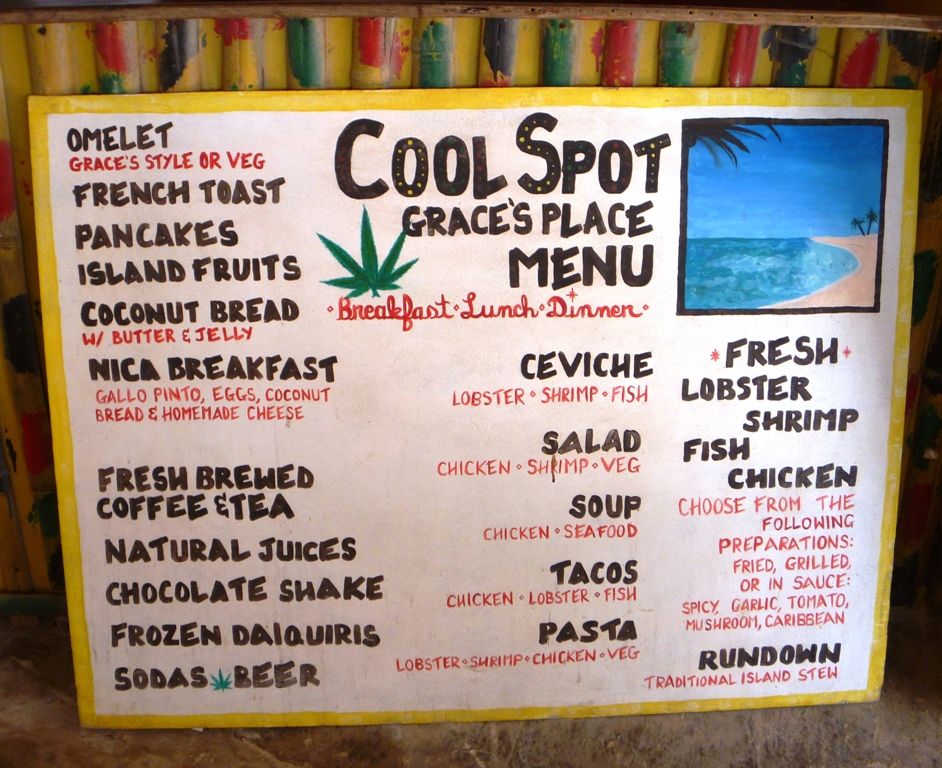 Graces Cool Spot menu